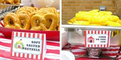 Soft pretzels, corn on the cob, french fries, nachos & cheese for food.