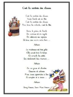 C'est la rentrée des classes Versini First Day Of School, Back To School, Simple Poems, Cycle 3, Kindergarten Classroom, Images, Songs, Education, Chant