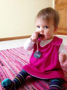 upcycle an old tee shirt into a pinafore baby dress #DIY #Sewing #Baby