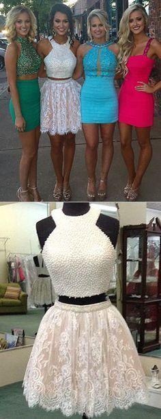 Charming Prom Dress,Sexy Prom Dress,Two Piece Prom Dress,Short #homecomingdressesshort