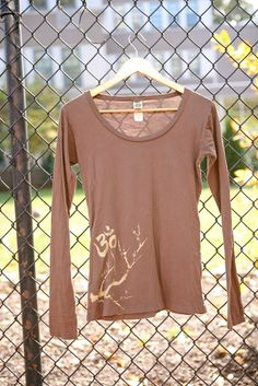 yoga and cherry blossom brown organic cotton long sleeve  http://www.etsy.com/listing/90440133/yoga-and-cherry-blossom-brown-organic
