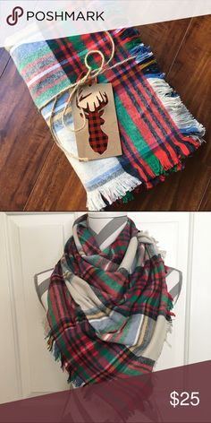 ✨HP✨Flannel Blanket Scarf - Cyber Monday Sale !! Beautiful cream, red and green plaid oversized blanket scarf with fringe on all sides. Made from the softest high-quality 100% cotton flannel. These scarfs are handmade with an extra touch of coziness! Accessories Scarves & Wraps