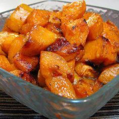 ROASTED SWEET POTATOE'S 3 Sweet potatoes, peeled and cut into bite size cubes 2 tsp olive oil 1 tbsp butter 1 tbsp of brown sugar (more if you want it sweeter) 1 tsp of ground cinnamon tsp of ground nutmeg Pinch of ground ginger Sea salt, to taste Side Recipes, Veggie Recipes, Cooking Recipes, Healthy Recipes, Potato Dishes, Vegetable Dishes, Food Dishes, Side Dishes, Sweet Potato Recipes