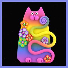 Rainbow Kitty & Flowers Pin by artsandcats, via Flickr