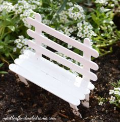 DIY-fairy-garden-popsicle-stick-bench by Lynn Sanderson