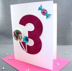 Items Similar To 3rd Birthday Card For Girl