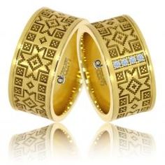 Verighete Georgeta motive traditionale romanesti aur galben Aur, Bangles, Bracelets, Napkin Rings, Rings For Men, Romania, Jewelry, Design, Women