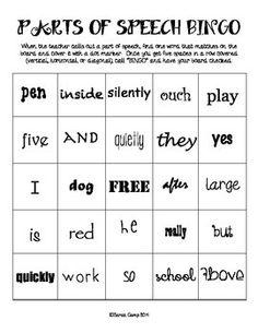 Part Of Speech Bingo Card Sample  English For Fun Esl