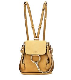CHLOÉ Faye Mini yellow leather and suede backpack