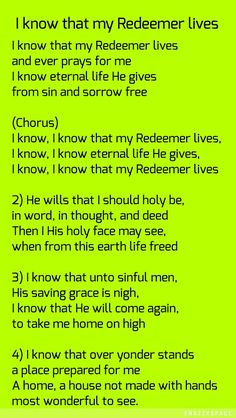 I know the my Redeemer lives My Redeemer Lives, Worship Songs, I Pray, I Know, Life
