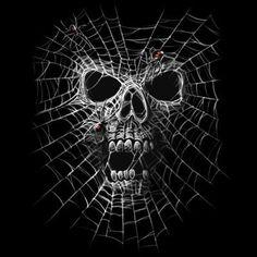 Badass Jewelry Spider Web Skull Ladies' Black T-shirt