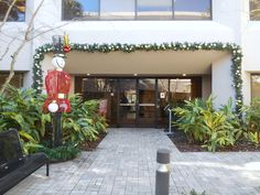 First impressions are priceless. Decorating your windows and doors for the holidays gives a warm greeting to your guest and clients. By simply adding some garland, lights, and ribbon, you make a great first impression. Click on pin to contact us.
