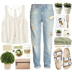 Hayley by aria-97 on Polyvore featuring мода, Aéropostale, H&M, Birkenstock, Dara Ettinger, Topshop, Origins, Chloé, Philip Kingsley and Sabre
