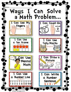 "Visual Poster for ""How to Solve a Math Problem"" - Math - Mrs.Visual Poster for ""How to Solve a Math Problem"" - Math - Mrs. Math Strategies Posters, Second Grade Math, 2nd Grade Math Games, 1st Grade Math Problems, 2nd Grade Centers, Third Grade, Teaching Math, Kindergarten Math Centers, Kindergarten Posters"