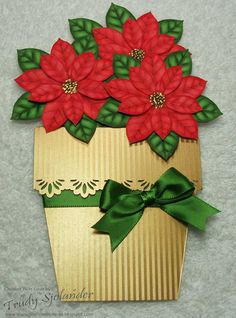 True's Gift's From the Heart: Pot of Pretty Poinsettias Pocket Card