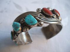 Old Rare Vintage DAVID TUNE Sterling Silver Turquoise and Coral Cuff BRACELET Signed