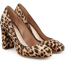 Sam Edelman Leopard Printed Calf Hair Pumps (€105) ❤ liked on Polyvore featuring shoes, pumps, animal print, pony hair pumps, leopard shoes, block heel court shoes, animal print shoes and leopard print pumps