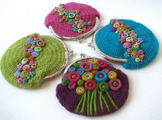 Crochet inspiration and idea. No pattern but looks like it is worked in rounds with treble crochet stitches and increasing evenly around. I love all of the decorative embellishments. Crochet Crafts, Yarn Crafts, Felt Crafts, Crochet Projects, Mode Crochet, Knit Crochet, Loom Knit, Crochet Coin Purse, Confection Au Crochet