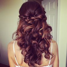 Bridal hair, down hairstyles, half down and curly, ash and co, charleston sc