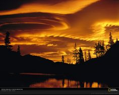 Yosemite, Lenticular Clouds at Sunset; Photo by: Galen Rowell; Posted by Chaz Curry Beautiful Sunset, Beautiful World, National Geographic, Yosemite National Park, National Parks, Nationalparks Usa, Lenticular Clouds, Yosemite California, California Lakes