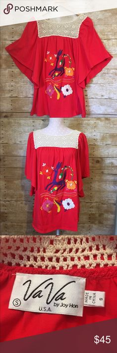 """Va Va by Joy Han embroidered top Gorgeous embroidered shirt Va Va by Joy Han.  Truly unique tunic. In absolute great condition. Hardly ever worn. Size small fits true to size. Floral design with what looks like a lama?, cute bell sleeves. 95% cotton, 5% spandex. Measures approx. 27"""" L, 18"""" wide at bust. Vava by Joy Han Tops Tunics"""