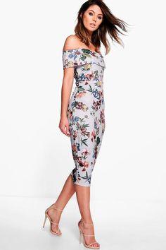 boohoo Lucie Off Shoulder Floral Midi Dress