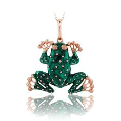 14K Solid Gold Frog Pendant Necklace #BeeloGold #Pendant