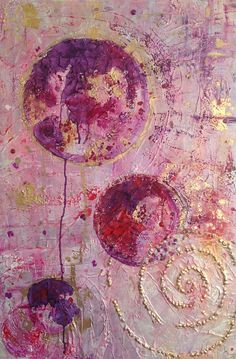 """""""Serenity"""", a pink-white-gold acrylic abstract that will brighten up any white wall.   At my Etsy shop with many other abstracts.  Free UK P&P"""