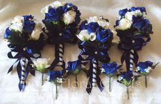 Wedding Bouquet Set / Navy blue Rose by TrinasFloralEffects, $180.00