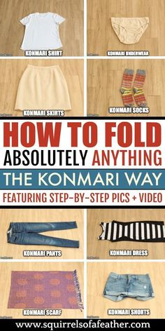 How to Fold Absolutely ANYTHING with the KonMari Method! How to Fold Absolutely ANYTHING with the KonMari Method!,Cleaning Wow, such a detailed guide on how to fold with the KonMari method! The organization tips. Organisation Hacks, Bedroom Organization Tips, Clothes Drawer Organization, Small Closet Organization, Organization Station, Clothes Storage, Life Organization, Declutter Your Home, Organizing Your Home
