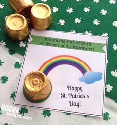 What adorable little printable cards for St. Patrick's Day. You are the pot of gold at the end of my rainbow.  So easy. If you want to personalize your own card, try Avery Postcards and free printable designs at www.avery.com/print