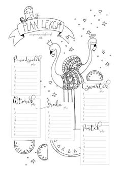 2016 * Plan lekcji do wydrukowania Calendar Organization, Teacher Organization, Back To Uni, Back To School, Learn Polish, Bullet Journal 2, School Timetable, Polish Language, School Planner