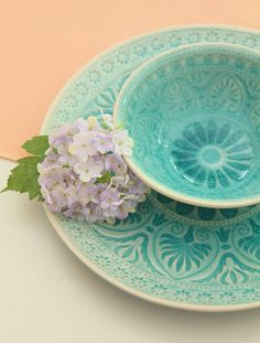 Love this shade of aqua. Lacy and pretty.