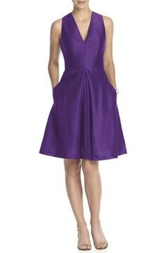 Alfred Sung V-Neck Dupioni Cocktail Dress available at #Nordstrom