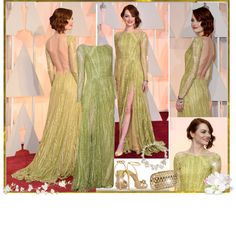 """""""Emma Stone in Elie Saab at The Oscars 2015"""" by sakuragirl ❤ liked on Polyvore"""
