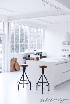 + #kitchen #white #flooded_with_light #wooden_details