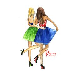 Best friends poster Fashion art Girly wall by RongrongIllustration