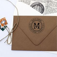 Monogram Return Address Stamp - Round Personalized Custom Self Inking Stamp