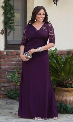 V Neck Half Sleeves Lace Long Mother Groom Dresses 2016 Mother Of The Bride Dress Plus Size Grape Purple Mother'S Dress Formal Gown Mother Of The Bride Dress For Beach Wedding Mother Of The Bride Dress Shops From Rosemarybridaldress, $114.14| Dhgate.Com