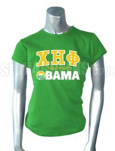 CHI ETA PHI FOR OBAMA T-SHIRT, GREEN  Item Id: PRE-ST-CHF-FOR-OBAMA-GRN    Price: $39.00