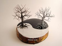 Handmade Ying & Yang Wood And Wire Tree Sculpture  by DrommeLund