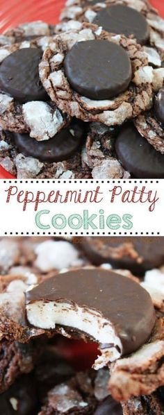 Peppermint Patty Cookies - a MUST MAKE this Christmas season! Whole York Peppermint Patties pressed into chocolate cookie dough and dusted with powdered sugar! Köstliche Desserts, Delicious Desserts, Dessert Recipes, Party Recipes, Christmas Recipes, Peppermint Cookies, Peppermint Patties, Christmas Desserts, Christmas Baking