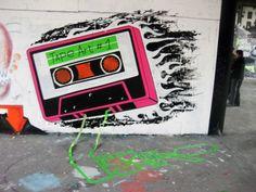 """Mix Tape""-  Klebeband Graffiti auf Teufelsberg , Berlin 2013"