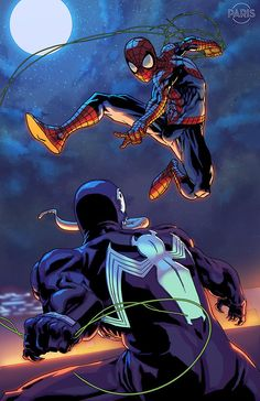 Spider-man vs Venom Commission by Paris Alleyne