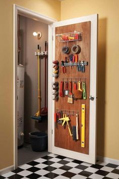 12 Simple Storage Solutions - Article: The Family Handyman ~ Love this door idea to the utility closet! Cabinet Door Storage, Diy Storage Shelves, Tool Storage, Garage Storage, Storage Spaces, Storage Ideas, Closet Storage, Storage Systems, Cabinet Doors