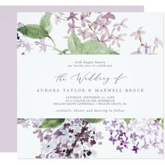Rustic Lilac Square Wedding Invite with elegant purple watercolor lilac wildflowers and a boho country garden style. It's the perfect light lavender purple and green floral design for a romantic event. Click to customize with your personalized details today. Square Wedding Invitations, Beautiful Wedding Invitations, Floral Wedding Invitations, Wedding Themes, Wedding Designs, Lilac Flowers, Romantic Weddings, Purple Wedding, Floral Watercolor