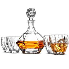 European Style Whiskey Decanter and Glass Set - With Magnetic Gift Box - Exquisite Diamond Design Liquor Decanter & 4 Whiskey Glasses - Perfect Whiskey Decanter Set for Scotch Alcohol Bourbon. Whiskey Decanter, Whiskey Glasses, Whiskey Gifts, Magnetic Gift Box, Thing 1, European Fashion, European Style, Diamond Design, Bars For Home