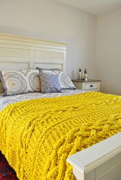 Chunky Cable Knit Throw Blanket inYello Cabled Wool Hand Knitted Blanket--made to order etsy. Paisley with yellow blanket just like home. King Size Blanket, Cable Knit Throw, Hand Knit Blanket, Yellow Interior, Mellow Yellow, Knitted Blankets, My New Room, Bed Spreads, Apartment Therapy