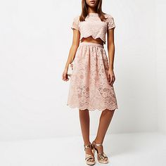Blush pink lace trim cut-out midi dress - swing dresses - dresses - women