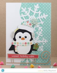 Winter penguin birthday card. #silhouettedesignteam